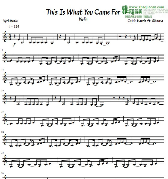 this is what you came for 琴谱 sheet music   欧美流行音乐乐谱