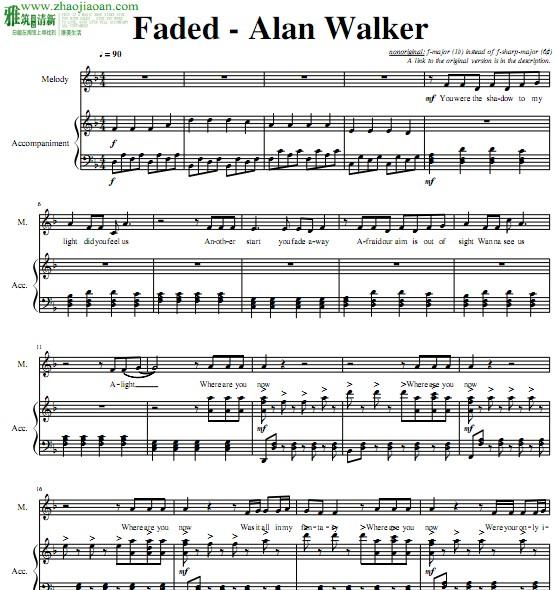 faded钢琴伴奏谱(易)