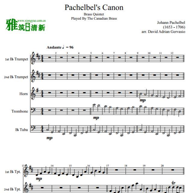 rass铜管五重奏谱 Pachelbel s Canon铜管五重奏谱