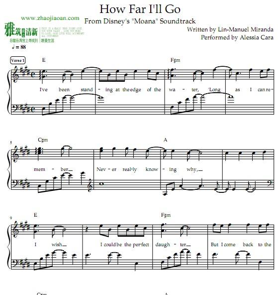 歌曲大海啊大海的曲谱-海洋奇缘主题曲钢琴谱 How Far I ll Go钢琴谱
