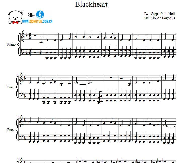 地狱咫尺 - blackheart钢琴谱