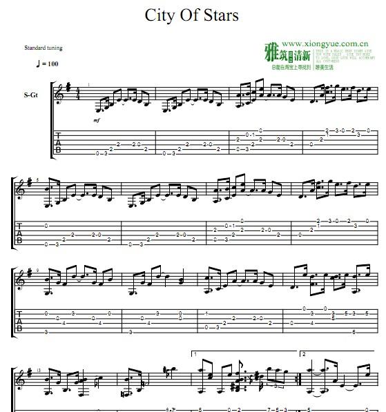 爱乐之城 city of stars 指弹吉他谱