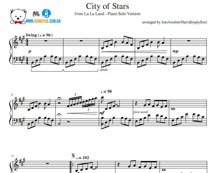 爱乐之城 City Of Stars钢琴独奏谱