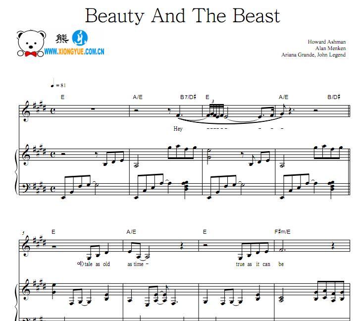电影美女与野兽主题曲 Beauty And The Beast钢琴谱