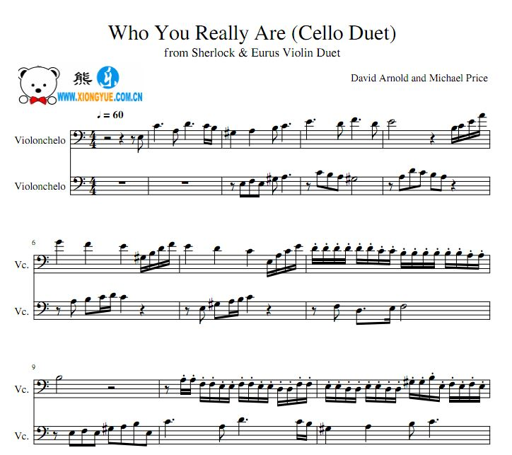 神探夏洛克第4季 who you really are大提琴二重奏谱