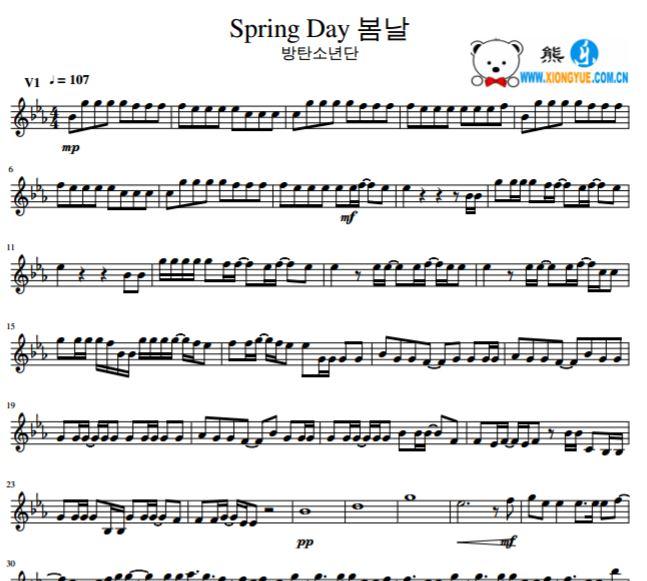 bts防弹少年团 spring day小提琴谱