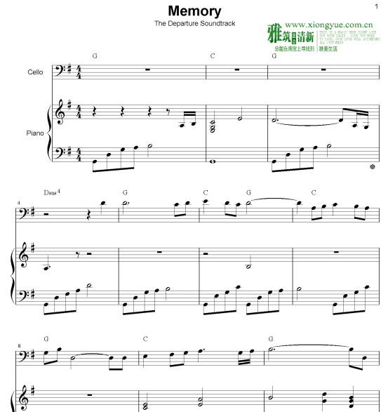 入殓师memory大提琴钢琴合奏谱