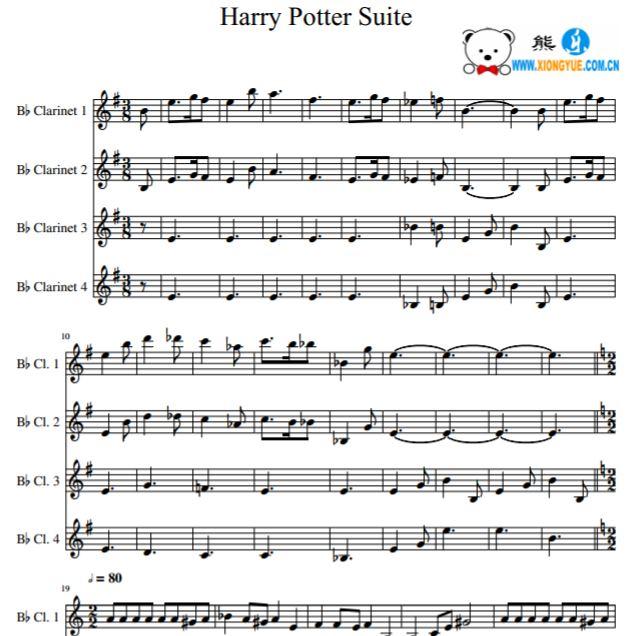 哈利波特 harry potter theme 单簧管四重奏谱
