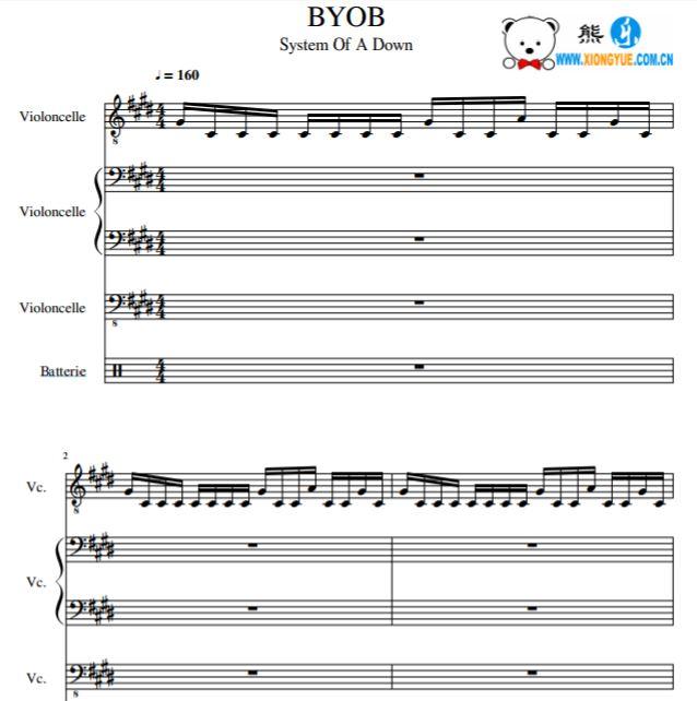 break of reality乐队总谱 byob大提琴三重奏打击乐伴奏谱
