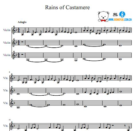 三重奏的谱子-此乐谱编码:-权力的游戏 The Rains of Castamere小提琴三重奏谱