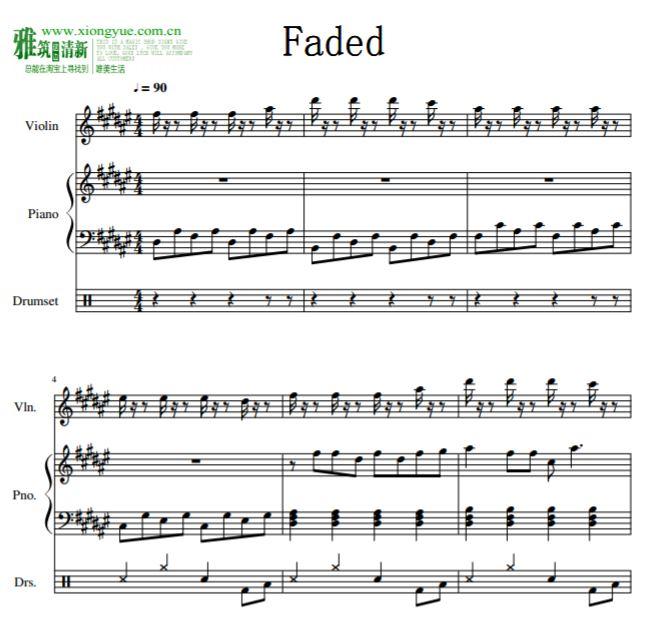 alan walker - faded小提琴钢琴二重奏爵士鼓伴奏谱