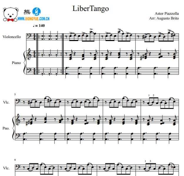 皮亚佐拉自由探戈 libertango大提琴钢琴合奏谱