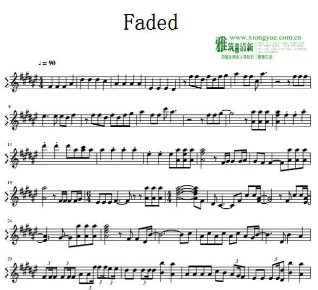 alan walker - faded长笛谱