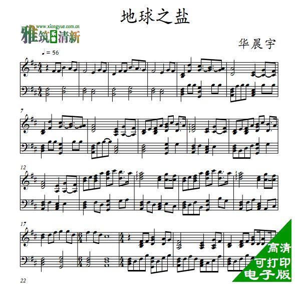 华晨宇 地球之盐钢琴谱图片