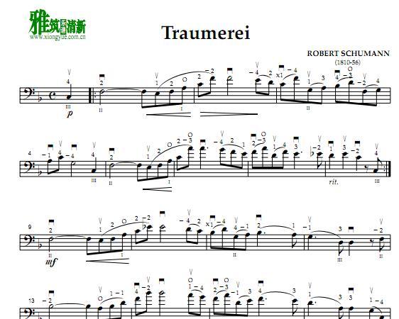 舒曼 梦幻曲大提琴二重奏谱 traumerei