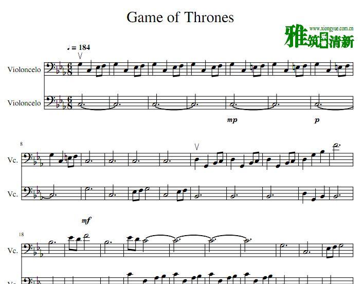 权力的游戏主题曲 双大提琴谱