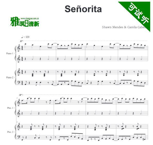 Senorita四手联弹钢琴谱
