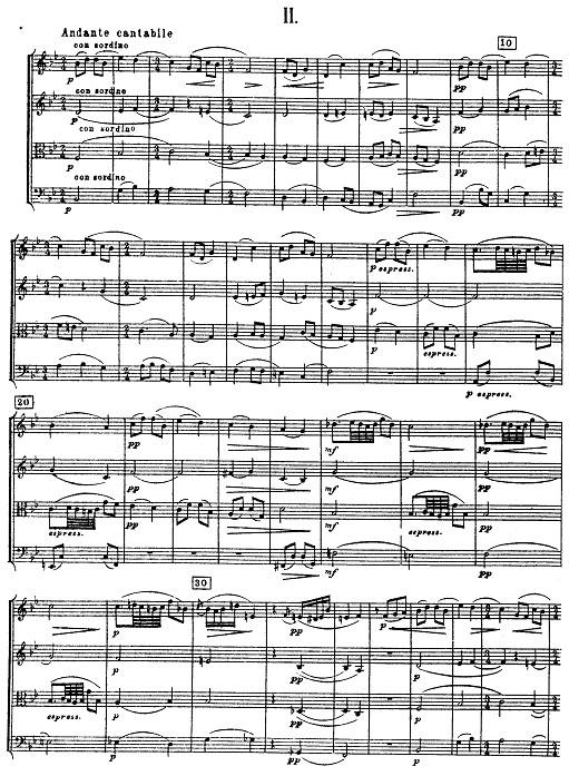 柴可夫斯基弦乐四重奏如歌的行板总谱+分谱