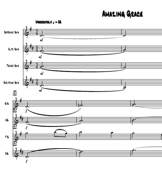 奇异恩典萨克斯四重奏总谱分谱