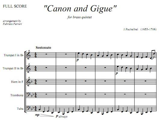 chelbel卡农与吉格铜管五重奏总谱 分谱 原版乐谱