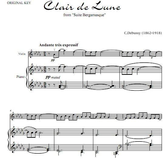 德彪西月光小提琴钢琴合奏谱 小提琴谱