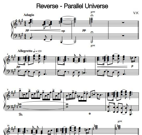 reverse - parallel universe钢琴谱